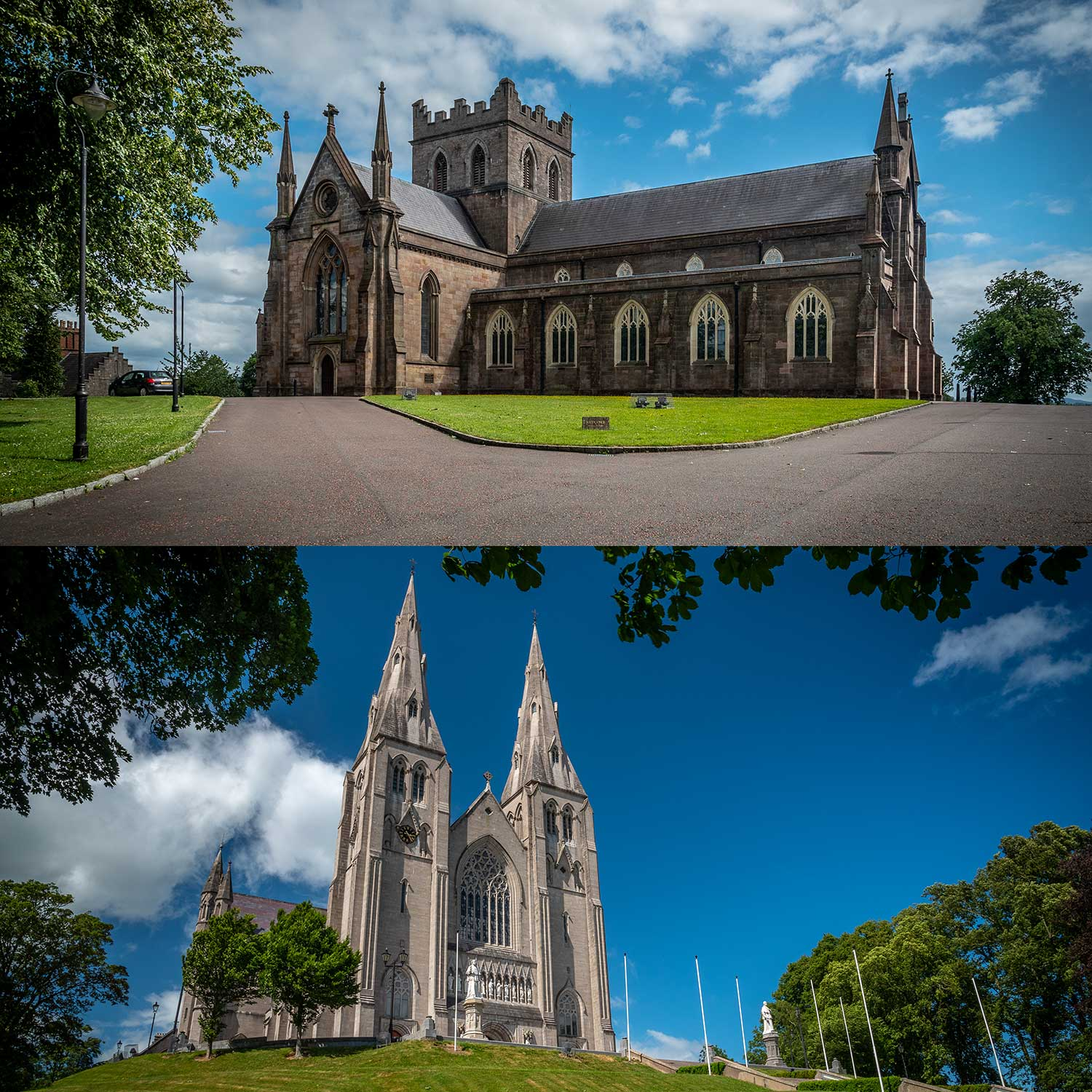 Top: St Patrick's Church of Ireland Cathedral. Bottom: St Patrick's Roman Catholic Cathedral. Both in Armagh City, just a short distance apart.