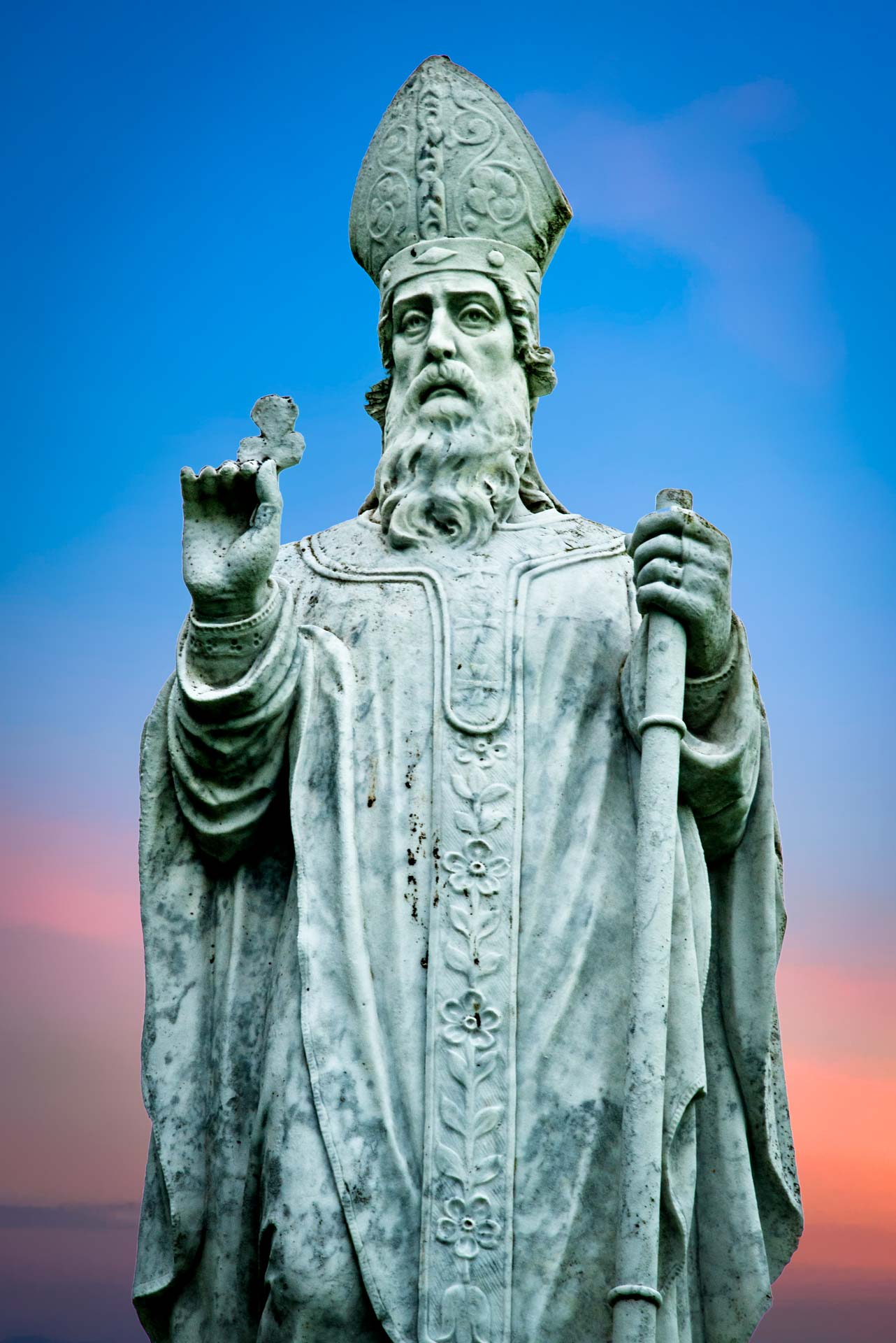 Statue of St Patrick, photographed at Hill of Tara, County Meath.