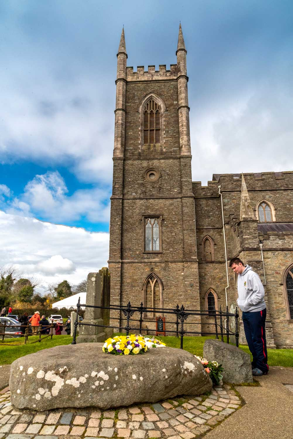 St Patrick's remains are believed to be buried here at Down Church of Ireland Cathedral, Downpatrick.