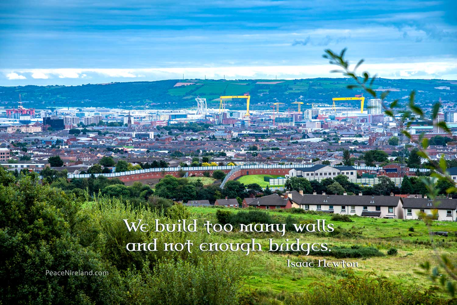 View over Belfast City with Peace Wall in the foreground