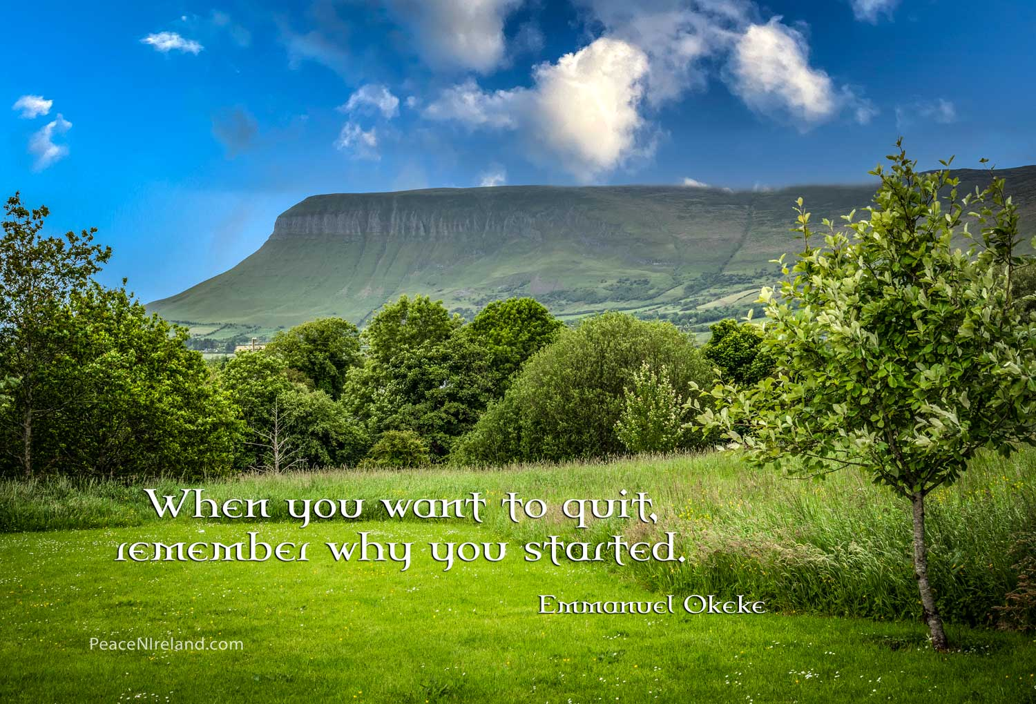 Ben Bulben mountain, from the burial place of W.B. Yeats, at Drumcliffe, County Sligo