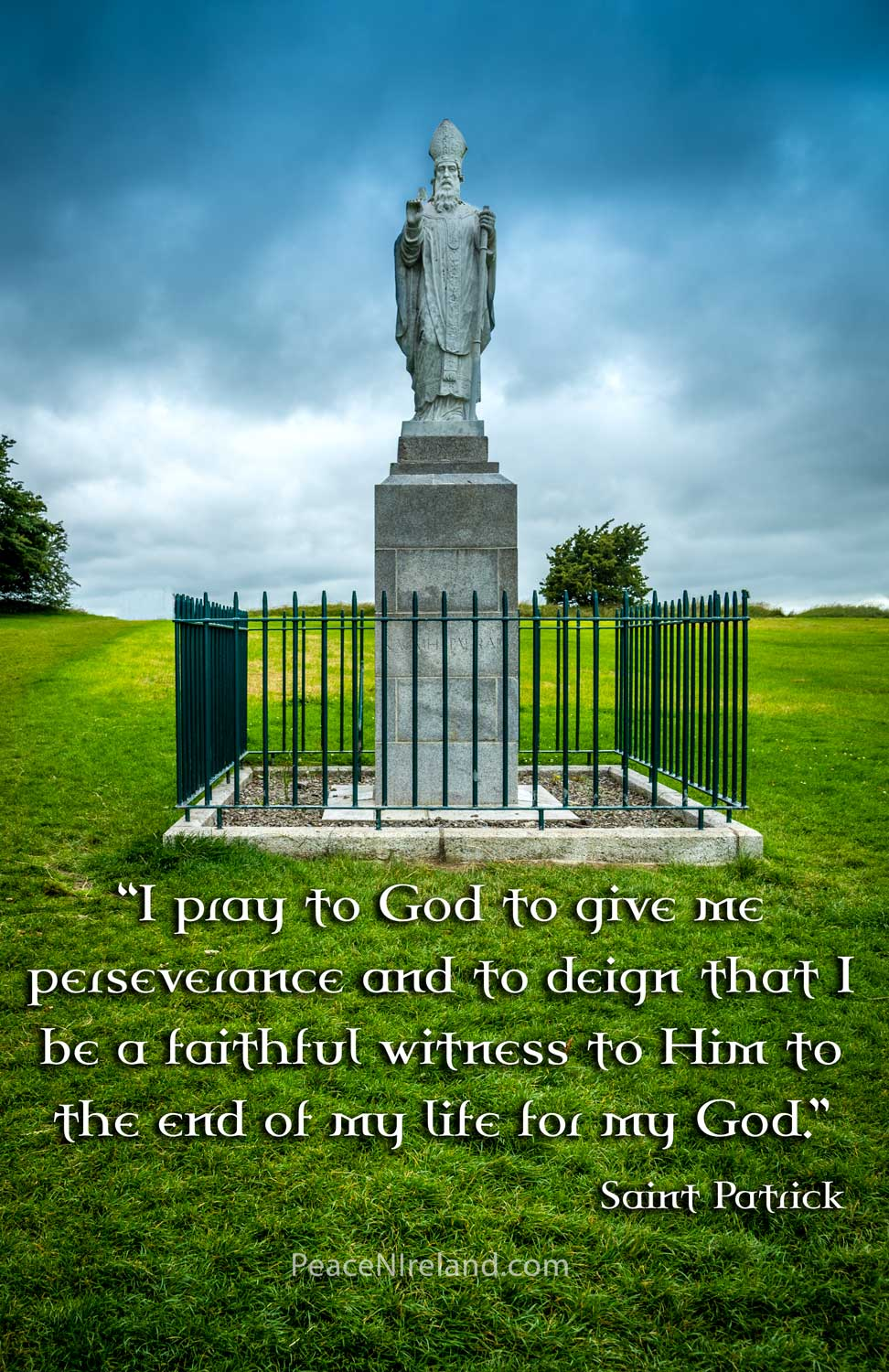Figure of St Patrick at Hill of Tara, County Meath, where he defied the orders of the High King.
