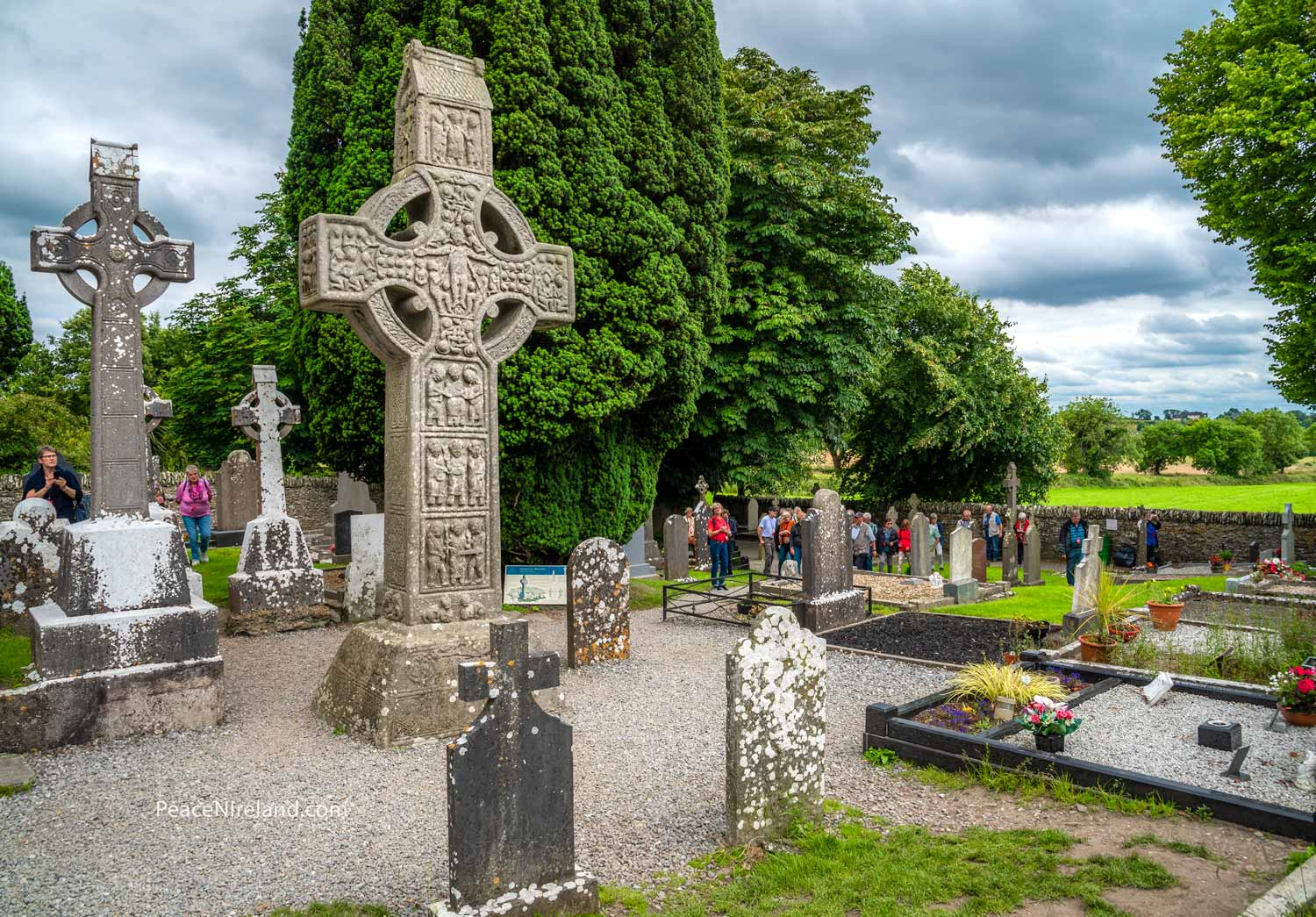 Also at Monasterboice, standing 5.2 metres high, the cross of Muiredach. This 'west face' depicts scenes from the New Testament and there are also scriptural panels on the sides.